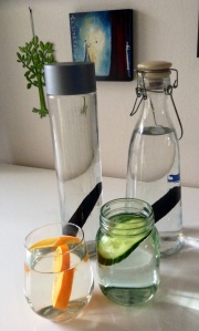 My filtered water and my favoured cucumber and orange water