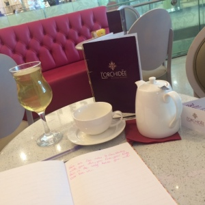 At L'Orchidee Cafe Drinking Cherry Rose Green Tea over ice