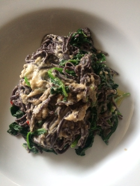 Black Rice Noodle and a Butter Bean Paste